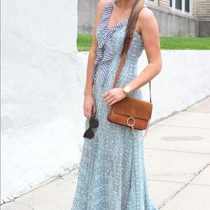 CAbi green blue ruffle chiffon maxi dress